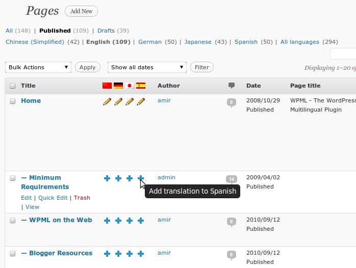 Depuis la liste des articles, on peut choisir la langue de traduction
